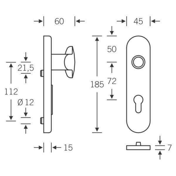 fsb rosetten schutzgarnitur 7374 au enschild mit 11mm. Black Bedroom Furniture Sets. Home Design Ideas