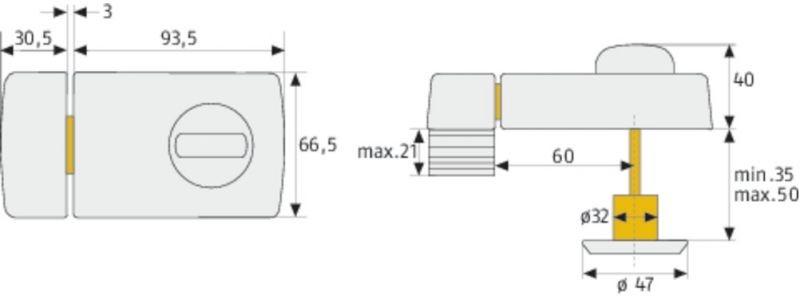 abus t r zusatzschloss 2110 t r zusatzschl sser t rzusatzsicherung sicherheitstechnik shop. Black Bedroom Furniture Sets. Home Design Ideas