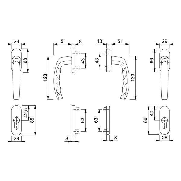 hoppe atlanta fenstergriff rosettengarnitur auf beiden. Black Bedroom Furniture Sets. Home Design Ideas