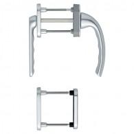 HOPPE Tôkyô Fenstergriff-Rosettengarnitur - Außen mit kurzem Hals - F1 Aluminium Natur