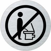 Ofform Edelstahlschild - Nicht im Stehen pinkeln