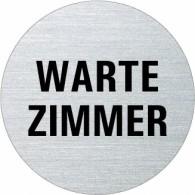 Ofform Edelstahlschild - Wartezimmer