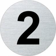 Ofform Edelstahlschild - Ziffer 2