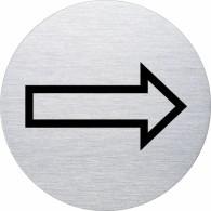 Ofform Edelstahlschild - Pfeil nach rechts