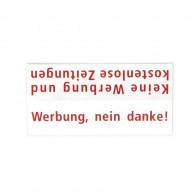 RENZ Kunststoff-Namenschildeinlage - Werbung Nein danke
