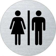 Ofform Edelstahlschild - Frau / Mann